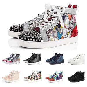 2019 Fashion Luxury baskets chaussures de designer chaussures rouge fond pour hommes femmes coupe haute noir blanc Spikes cuir véritable rivet occasionnel Sneaker