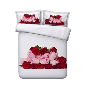 Rose Red Floral Duvet Cover Set Coração Amor Colcha Coverlet Meninas Geometric Consolador Tampa rosa Botânico Flor Jogo de Cama Galaxy cama