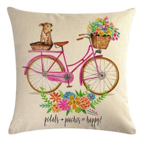 Nordic Estilo Cartton bicicleta flor capa de almofada 45 * 45 centímetros descanso descansos Tampa decorativa Decoração Jogar Pillowcase