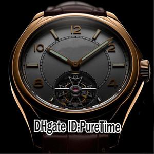 Nouvelle Fiftysix 6000E / 000R-B48 Rose d'or Cadran Blanc Automatique Tourbillon Mens Watch montres de sport en cuir brun 4 Styles Pour Puretime E04a1