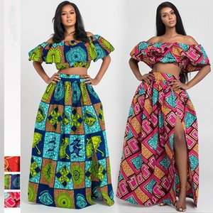 African Clothes 2020 News Dashiki Print Party Shoulder Off Ladies Sling Skirts Africa Dresses for Women Bazin Ankera Long Robe T200630
