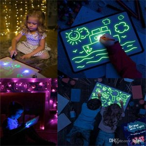 3D Light Up Drawing Kit Drawing Board Graffiti Fluorescent Luminous Draw With Light For Child Kids Children Toys Xmas Gifts WX9-1695
