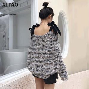 Xitao Kapalı Omuz Örme Triko Kadınlar Moda Straplez Bow Şık Slash Boyun Batwing Sleeve 2019 Sonbahar Triko WLD2895