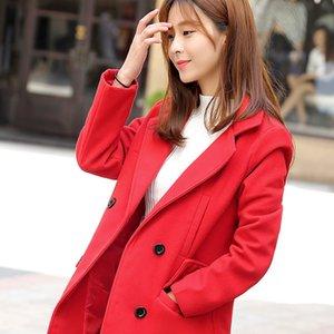 Sezon Gevşek Coat Kızlar Uzun Fonu Yün Palto Suit elbise Öğrenci Kolay Yün Gevşek Coat Kadın