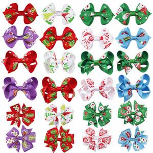 """2 pc / lotto 3"""" Hairgrips di Natale per ragazze boutique dei capelli dell'arco con morsetti a coccodrillo tornante Festa di Natale Accessori per capelli"""