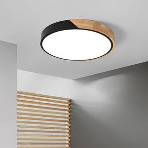 Macaron Ronda de 5 cm de la superficie de las luces de techo Ultra-delgada Monte llevados modernos para el dormitorio Sala de estar Sala de Estudio de techo de madera de la lámpara