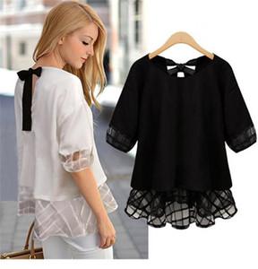 Nuovo Oversize donne magliette scava fuori del manicotto mezzo allentato progettista delle donne Estate Tees Backless Bow casuale nero e camicia bianca femminile T
