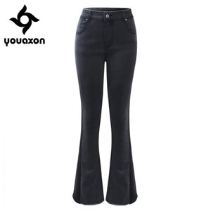 2194 Youaxon  New EU Size Flare Jeans Woman Plus Size Stretchy Dark Grey Denim Skinny Pants Trousers For Women Jeans