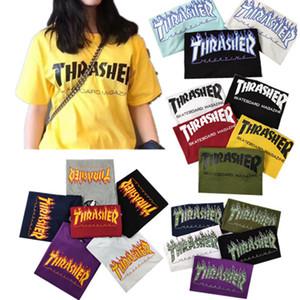 Лучшие качества Мужские футболки Thrash скейтборд Tshirts Flame Letter Printed Tshirts 100% хлопок Повседневный тройники Топы для мужчин и женщин хип-хоп