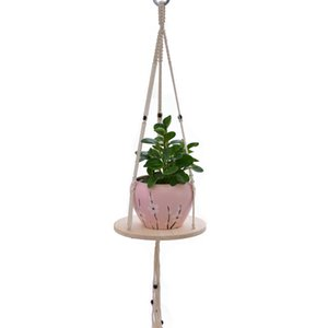Macrame Plant Hanger Flower Holder Holder con base de madera natural White Cotton Rope Tassel Hanger Reciclado Plantador Holder