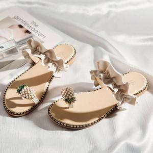 SAGACE Fashion Ladies Flat with Slipper Zapatillas de fondo plano para mujer Clip Toe Sandalias de moda para estudiantes Zapatos de playa de verano