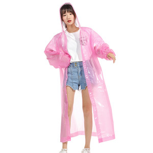 Thickened Raincoats EVA Non-disposable Solid Raincoat Fashion E-Friendly Waterproof Raincoats Outdoor Travel Long Raincoat RRA2857