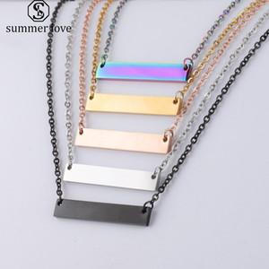 New Blank Bar ожерелье из нержавеющей стали ожерелье золота розового золота Серебряный Blank Bar Шарм Подвеска ювелирные изделия для покупателя собственного гравировальный DIY