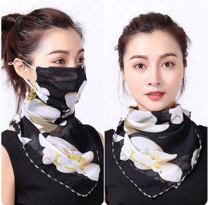 Frauen-Schal-Gesichtsmaske 38 Styles aus Seidenchiffon Handkerchief Außen windundurchlässiges Half Face Staubdicht Sonnenschutz Masken LJJO7663
