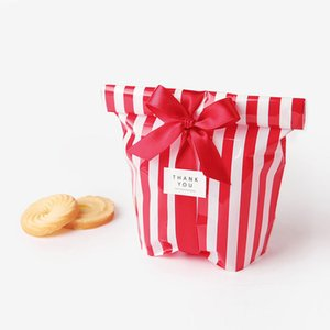 10pcs lot Candy Cookie Paper Gift Bag Stripe Biscuit Bread Nut Bag For DIY Self Adhesive Pouch Wedding Birthday Party Supplies 8