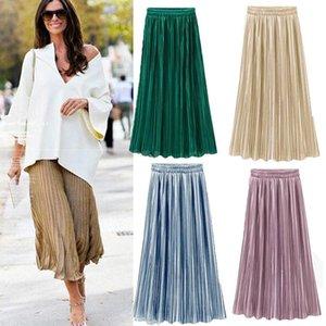 Hirigin Vintage Women Metallic Luster Stretch High Waist Skirt Fashion Plain Skater Flared Pleated Long Skirt