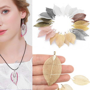 Gold and Silver Plated new Natural Leaf Pendant for Necklace Earring DIY Making Jewelry Beads Charms Findings Perfect Gifts for Women