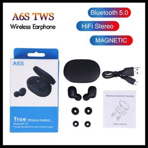 Fone de ouvido TWS A6S Headphone 5 cores Bluetooth 5.0 auriculares Bluetooth Headset com microfone para telefones Xiaomi Huawei Samsung inteligentes