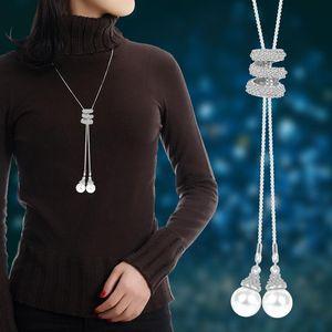 Collana Tassel strass di cristallo di perle lunga catena collana donne metallo nuovo modo lungo maglione partito Collane