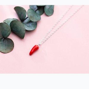 Joyería Nueva Sterling 100% 925 Collar de llegada Red Mloveacc Pepper Pepper Charm Charm Mujer Chili Colgante Collar Ewlnw