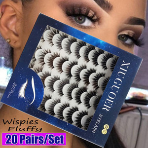 20Pairs Mix Style 3D Mink Natural False Eyelashes Dramatic Volume Long Wispies Fluffy Lash Makeup Fake Eyelash Beauty Extension