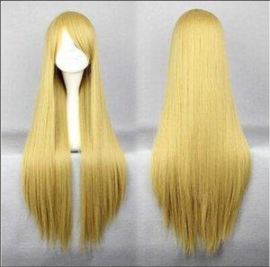 WIG Livraison gratuite New Fashion Cheap Long de cheveux synthétiques Blonde Anime cosplay costume perruque