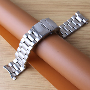 Curved end Watchbands 18MM 20MM 22MM 24MM Silver stainless steel solid links watch straps bracelets safety buckle folding clasp