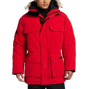 Chaqueta de invierno para hombre Canadá estilista de Down Parka Prendas de vestir exteriores encapuchada de la piel grande de Canadá hacia abajo chaqueta de la capa del tamaño XS-XXL