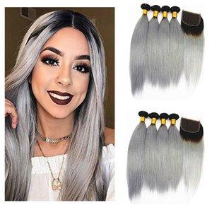 H A Ombre İnsan Saç Paketler ile Kapatma Brezilyalı Virgin Saç Paketler ile 4x4 Dantel Clsoure Renk 1b / Gri 10 -26 İnç