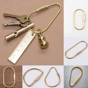ewelry & Accessories Brass Keychain With Lock D Key Chain Golden Camping Carabiner Survival Camping Equipment Buckles Hooks Key Ring Acce...