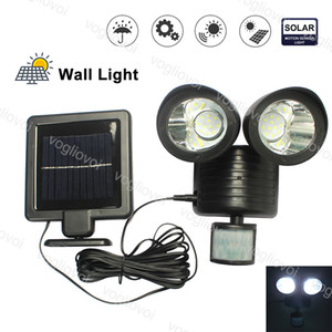 Solar Security Lights Motion Sensor 22 LED Double Heads Waterproof For Outdoor Garage Street Wall Lights Garden Yard DHL