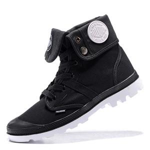 Más barato Nueva PALLADIUM Pallabrouse para hombre de alta militares del Ejército de tobillo zapatos de los cargadores de lona zapatillas de deporte casuales hombre antideslizante de diseño zapatos blancos 35-45