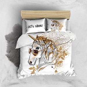 고급 침구를 유니콘 창조적 인 재미 이불 커버 황금 나뭇잎 여왕 트윈 전체 임금 편안한 침대 세트를 설정합니다 Thumbedding