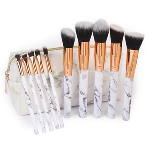 MAANGE 10Pcs Set Marbling Makeup Brushes Kit Marble Pattern with PU Brush Bag Powder Contour Eye Shadow Beauty Make Up Brush Cosmetic Tools