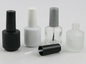 15ml Empty White Black Clear Frost Glass Nail Polish Bottle With White Black Grey Brush Cap 1 2oz Glass Container