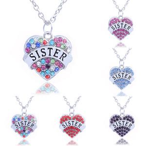 Fête des Mères Meilleur Cadeau Mère Fille Soeur Grand-Mère Nana Tante Famille Collier Cristal Coeur Pendentif Strass Femmes Bijoux