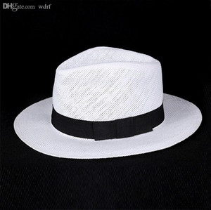Großhandels-Unisex Art und Weise Sommer Strohhut Filzhut Strand Sonnenhut solid weiß klassischen Jazz Panamahut Strohhüte für Frauen-Mann-freies Verschiffen
