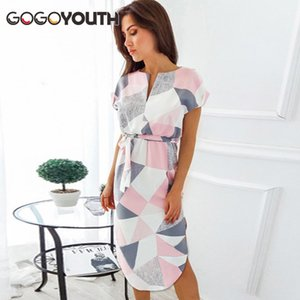 Gogoyouth Plus größe Sommerkleid Frauen 2018 Kurzarm Patchwork Große Sommerkleid Tunika Beach Party Kleid Midi Lange Robe Femme T190608