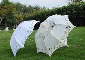 긴 손잡이 수제 예술 결혼식 가리비 가장자리 자수 순수 코튼 레이스 웨딩 우산 파라솔 로맨틱 웨딩 사진