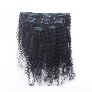 Hair extension clips for african american hair 100g Natural Color Afro kinky clip ins 8pcs human hair clip in extensions for black women