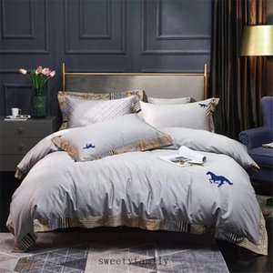 Super High Quality Bedding Sets For Adults and Children 4 Season Classics Horse Embroider 100S Cotton Bedding Cover Queen King