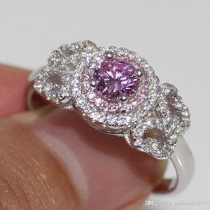 Pure argento 925 rotonda anello della fascia regalo Cut zaffiro rosa 2 della CZ di colore donne del diamante da sposa Victoria Wieck choucong monili di lusso 100%
