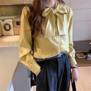 Одежда женская Темперамент лук атласная рубашка весна Дизайнерские Сыпучие Сплошной цвет с длинным рукавом Повседневная рубашка женская