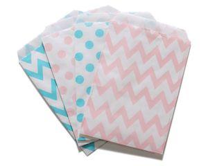 500pcs Favore di partito Borsa Boy Light Blue e Girl Light Pink Polka Dot Chevron Paper Favore Borse Genere Reveal Baby Shower Favor