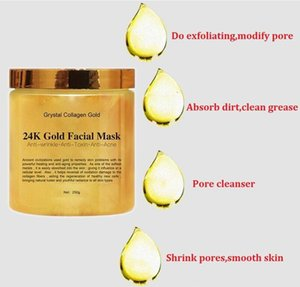 Crystal Collagen Gold Woman's Facial Face Mask 24K Gold Collagen Peel Off Facial Mask Face Skin Moisturizing Firming 250g.