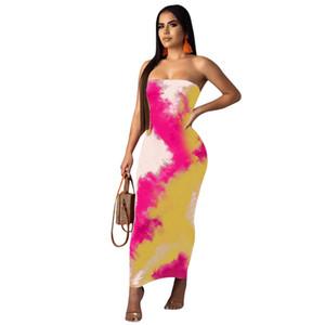 2019 yeni kadın kravat boyalı baskı askısız straplez ayak bileği uzunluğu bodycon kalem elbise parti kulübü seksi gece elbiseleri 2 renk