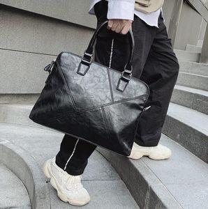 Оптовая Марка мужская сумка простое шитье повседневная сумка портативный горизонтальный бизнес портфель мягкая кожаная сумка Сумка для компьютера