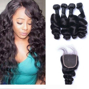 Malaysian Loose Wave Human Hair 4 Bundles with Closure Bleached Knots Unprocessed Hair Wefts and Lace Closure Ping