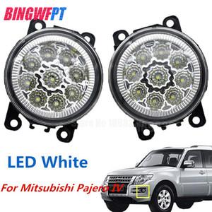 2 STÜCKE Auto Styling LED Nebelscheinwerfer weiß gelb Runde Stoßstange lampen Für Mitsubishi Pajero IV V8_W V9_W Geländewagen 2007-2012