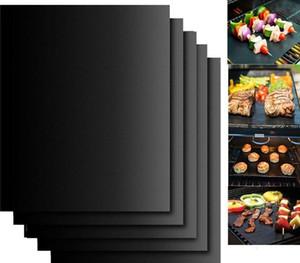 Antiaderente BBQ Grill Mat Teflon Cozinhar Folha grelhar piquenique preto assado reutilizável Não Vara BBQ Grill Mat de Resistência ao Calor Cozinha Ferramenta LSK70
